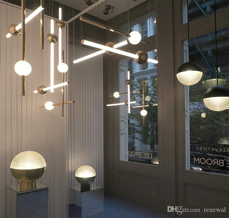 Minimalist Hat Sanatı LED Yatay Versiyonu Kolye Işıkları Metal Glow Topu Bar Cafe Çay Dükkanı Mühendislik Merdiven Restoran Için