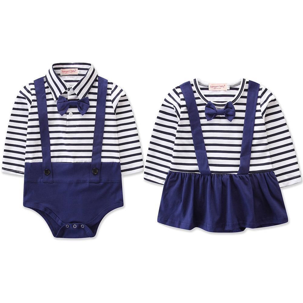 Baby-Mädchen-Kleidung Gentleman Jungen Langarm-Bow Tie Stripe Romper Bruder und Schwester-Overall-Kleinkind-Mädchen-Kleiden 0-24M