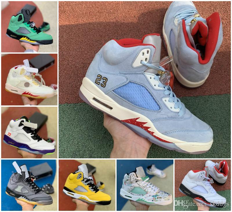2020 Zapatos Jumpman 5 Blanco Negro Gris Crema 3M reflectante de baloncesto del Mens 4 5s Isla Verde Rojo Fuego Lo La Retroes oscuras zapatillas de deporte de diseño