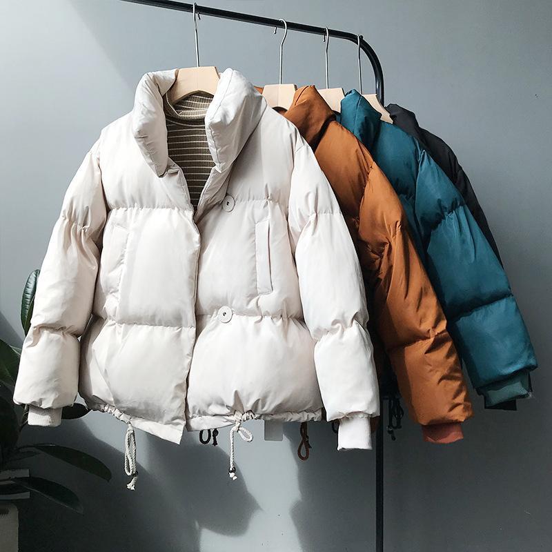 Kalınlaşmak Kadınlar Kış Parkas Gevşek Pamuk Ceket Giyim Oversize Moda Katı Coat Kadın Sıcak Standı Yaka Dış Giyim