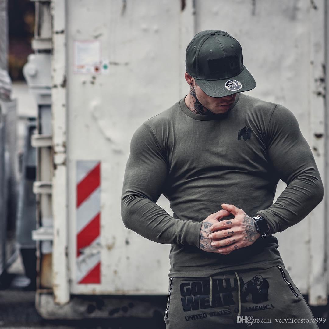 Nouveau style de la mode de remise en forme à manches longues T-shirt Pull en coton élastique Fit running Hommes T-shirt de remise en forme Vente chaude