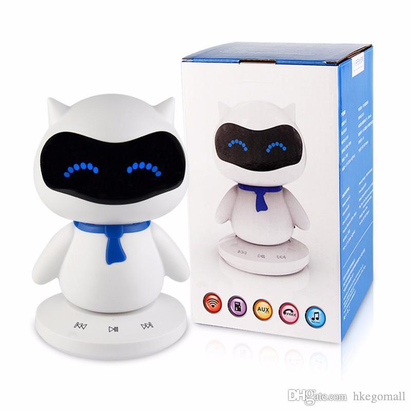 미니 휴대용 귀여운 로봇 스마트 블루투스 스피커 음악 핸즈프리 TF MP3 AUX 기능 모든 블루투스 장치