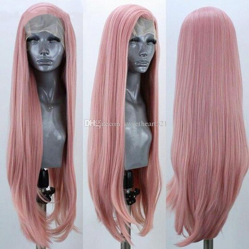 New Sexy Free Part Long Burgundy&Pink&Yellow Wig Long Straight Synthetic Lace Front Wigs for Women Heat Resistant Fiber Cosplay Party Wig