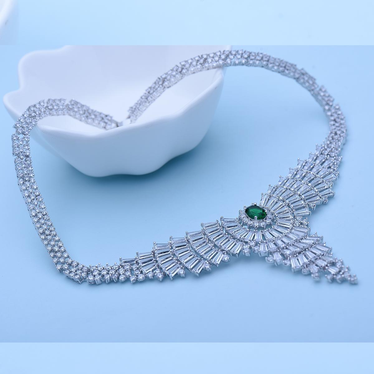 Fashion-I New Luxurious Staterment Choke for Women Shining Zircon Big Pendant White Gold-Color Bridal Wedding Jewelry Jewelry Set Party Gift