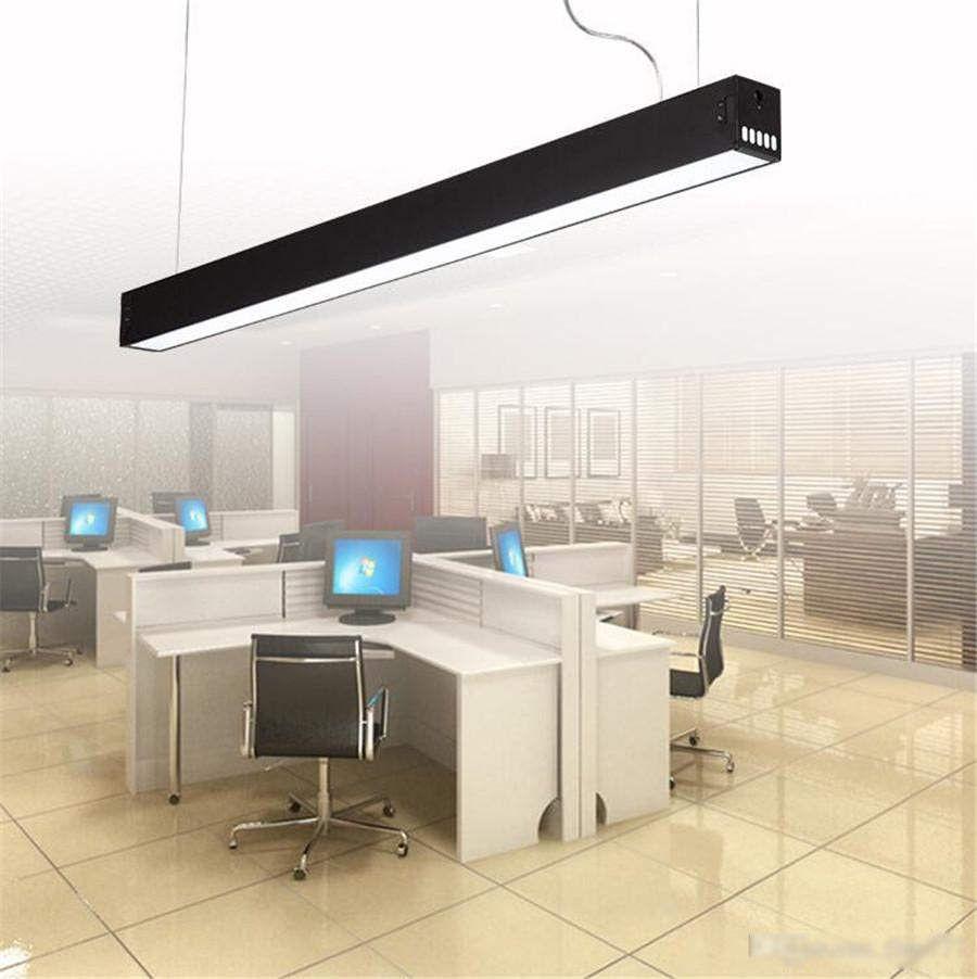 120 centímetros escritório LED de alumínio retangular teto luz pingente de prata moderna levou dispositivo elétrico da lâmpada lustre para sala de jantar escritório restaurante