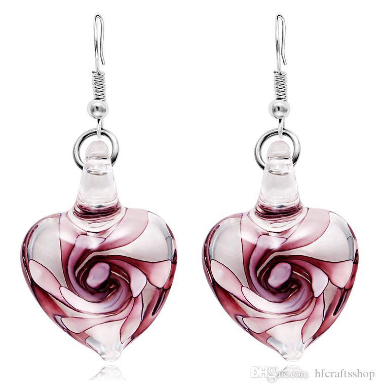 İtalya Murano ilham moda spiral çiçek cam küpe Kalp Şekli Dangle Küpe Kadınlar Kız Parti için 10 çift / grup