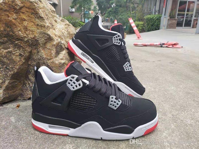 (Con scatola) 4 Bred Mens scarpe da basket 308497-060 Nero Cement Grigio Summit White Fire Red 4s Womens Athletic Sports Sneakers taglia 36-47
