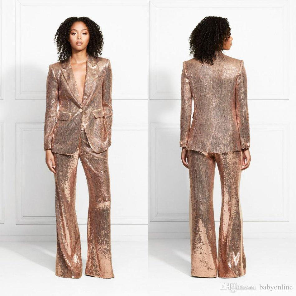 2020 Rose Gold Sparkly Sequined Mother of the Bride Suits Bling Slim Fit Women Dresses Ladies Party Evening Wear For Wedding(Jacket+Pants)