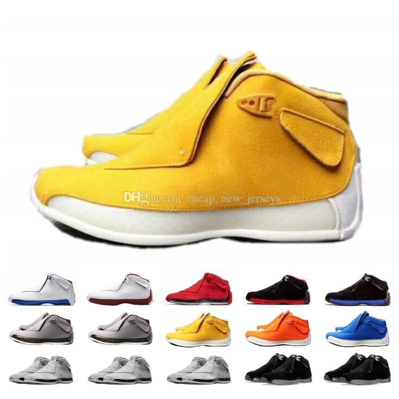 Высокое качество 18 Toro Красный Замша Серый Синий Желтый Оранжевый Замша Мужчины Баскетбол обувь 18 s Bred OG ASG Черно-белые кроссовки