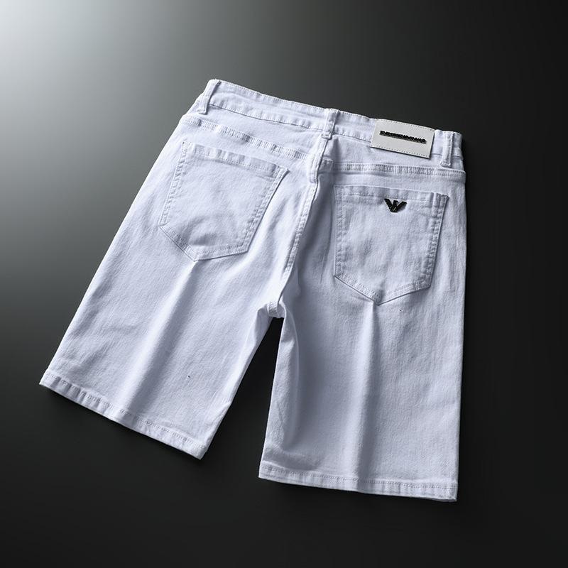 dunhang122020 мужские тонкие пятиточечные тонкие шорты стрейч вышитые джинсы брюки