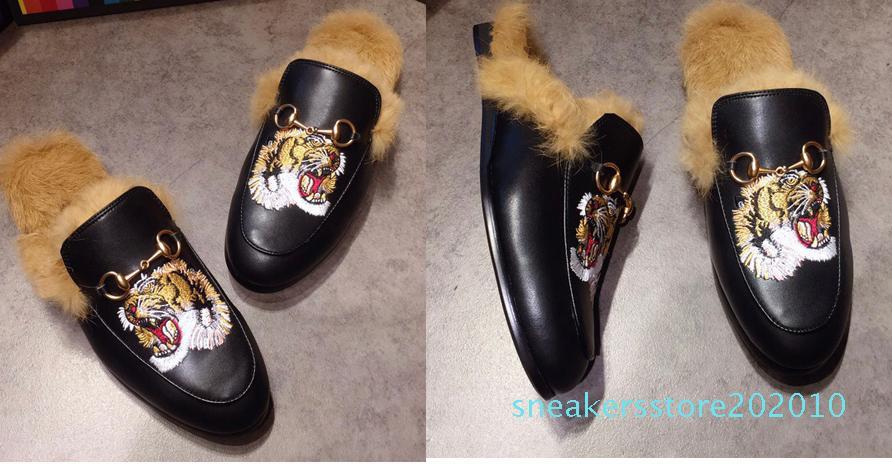 Новые мулы Принстон мужские женские меховые тапочки без задников балетки из натуральной кожи дизайнер мода металлические цепи женские повседневные ботинки США 5-12