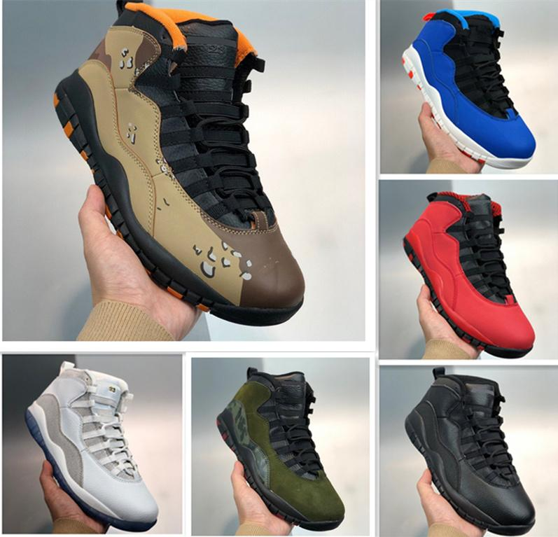Top 10 10s Men Basketball Shoes Wings Chicago Seattle Tinker Desert Camo Black Cement Mens Sports Trainers Sneakers Size 40-47