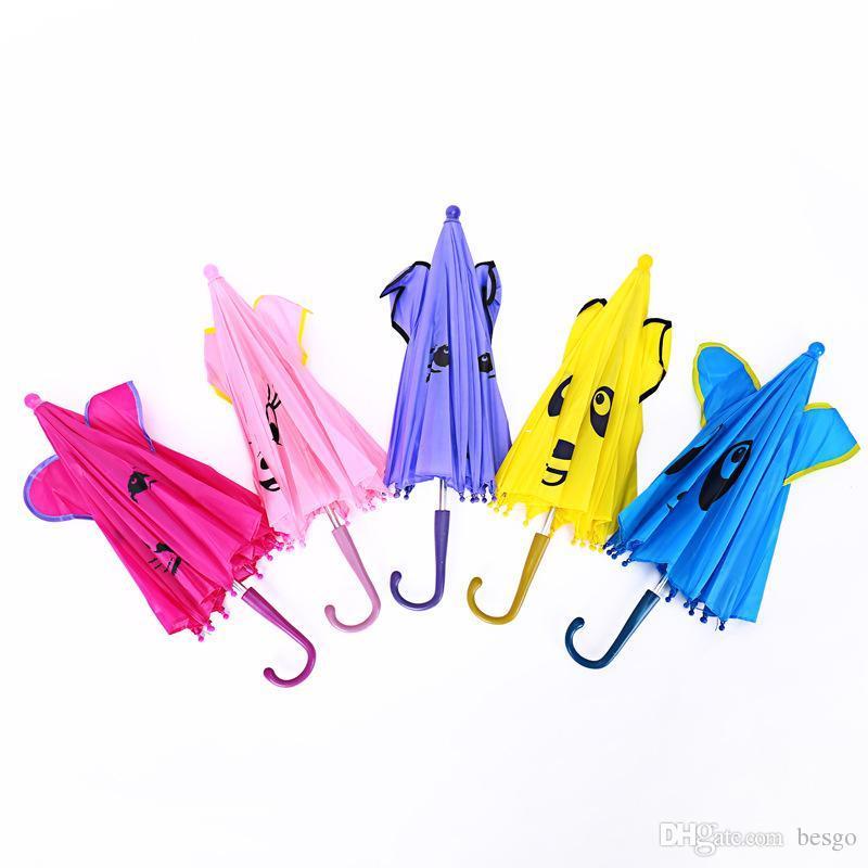 Высокое качество ветрозащитный обратный складной 3D уха моделирование детские зонтики дождь защита C-крючка руки прекрасный мультфильм дизайн зонтик dh0078