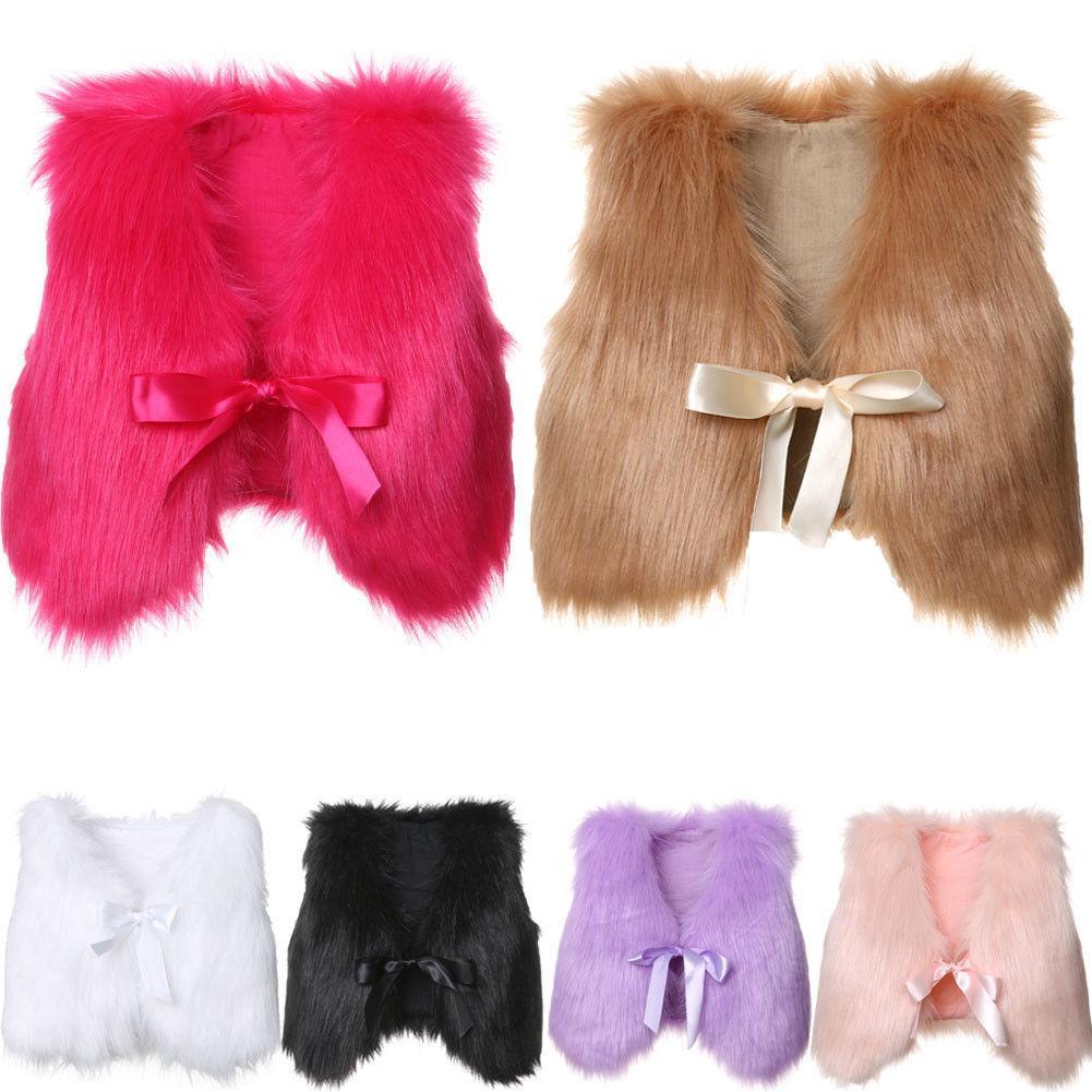 Toddler Kids Baby Girls Boy Winter Faux Fur Waist Coat Gilet Jacket Outwear Vest