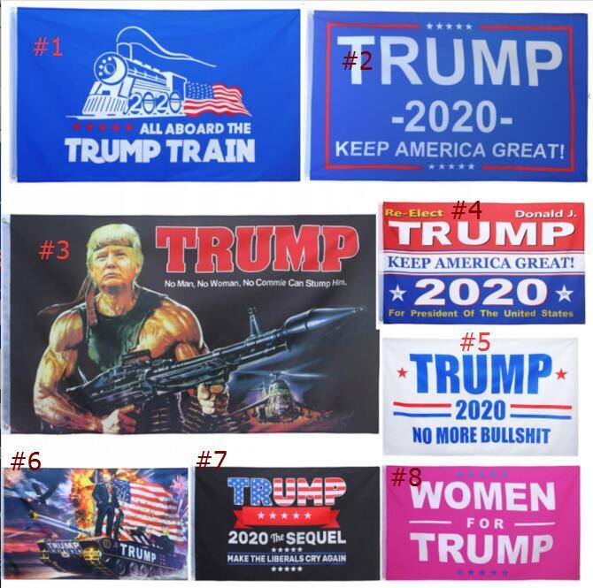 8 стилей моды Trump 2020 Флаг 90 * 150см Классический Donald Keep America Great Digital Print США Баннер Party Decor