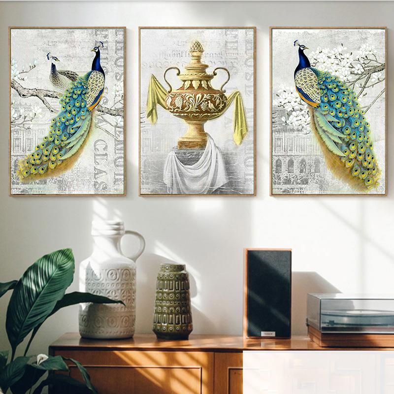 Noble Peacock Emerald Flower Vase Pinturas sobre lienzo Vintage Wall Kraft Carteles Recubiertos Pegatinas de pared Decoración para el hogar Regalo familiar