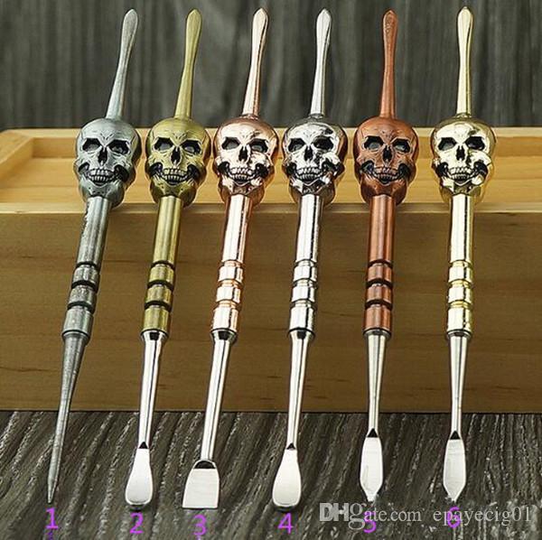 Diseño del cráneo herramientas de cera dabber 6 color 120 mm desmontable dab jar herramienta metal clavo de titanio para hierba seca atomizador vaporizador