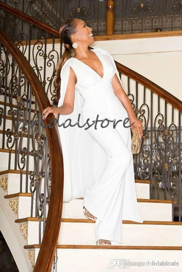 Chic Pant White Evening Dresses With Caped Sexy V Neck Jumpsuit Formal Evening Gowns Black Girls African Women Prom Wear Dress 2020 Cheap
