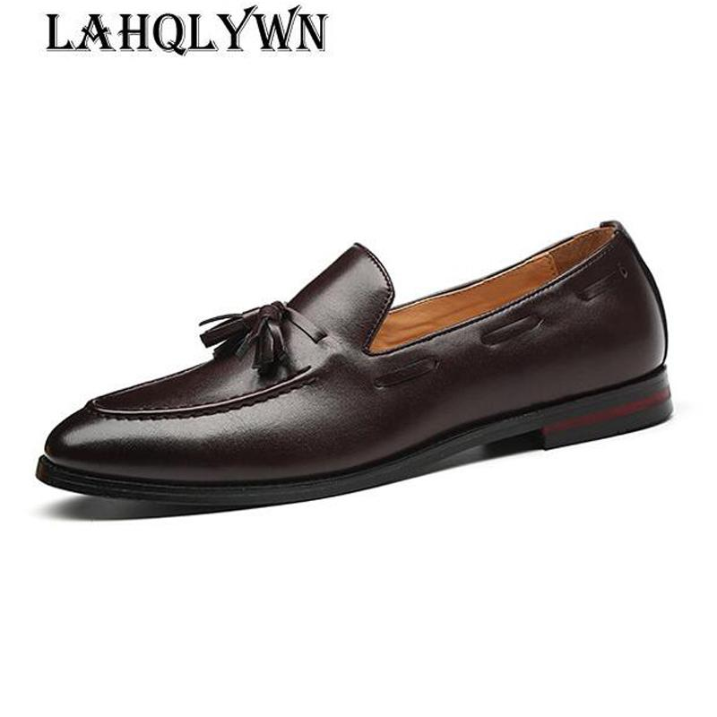 Новые мужчины кисточкой мокасины искусственная кожа формальные обувь элегантное платье обуви простой скольжения на человека Повседневная обувь большой размер 48 47 46 H292