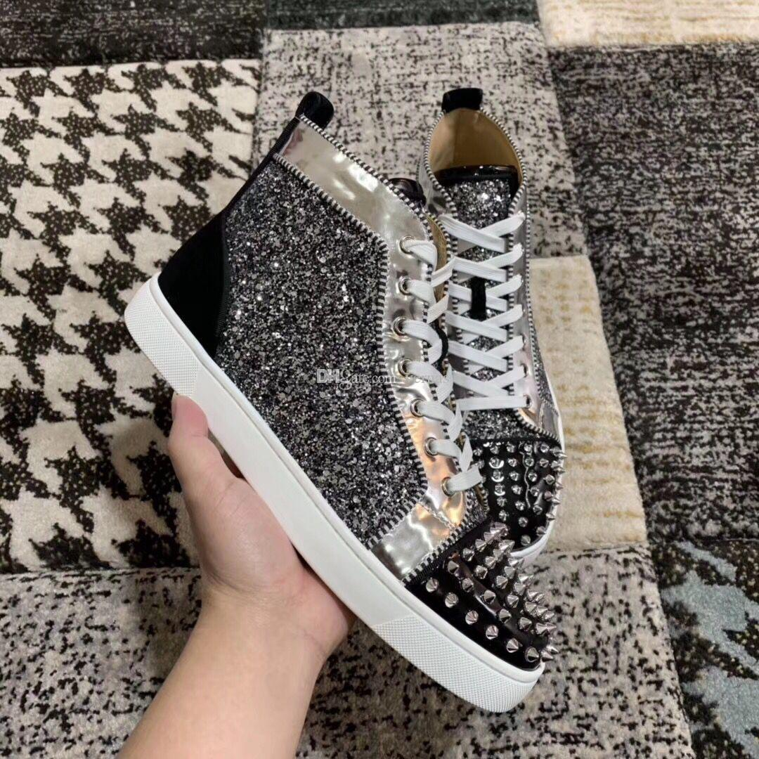 Glitter Leather With Spikes Sneakers Shoes Red Bottom Women&Men Leisure Fashion High-top Casual Walking Party Dress Trainer Size 35-47