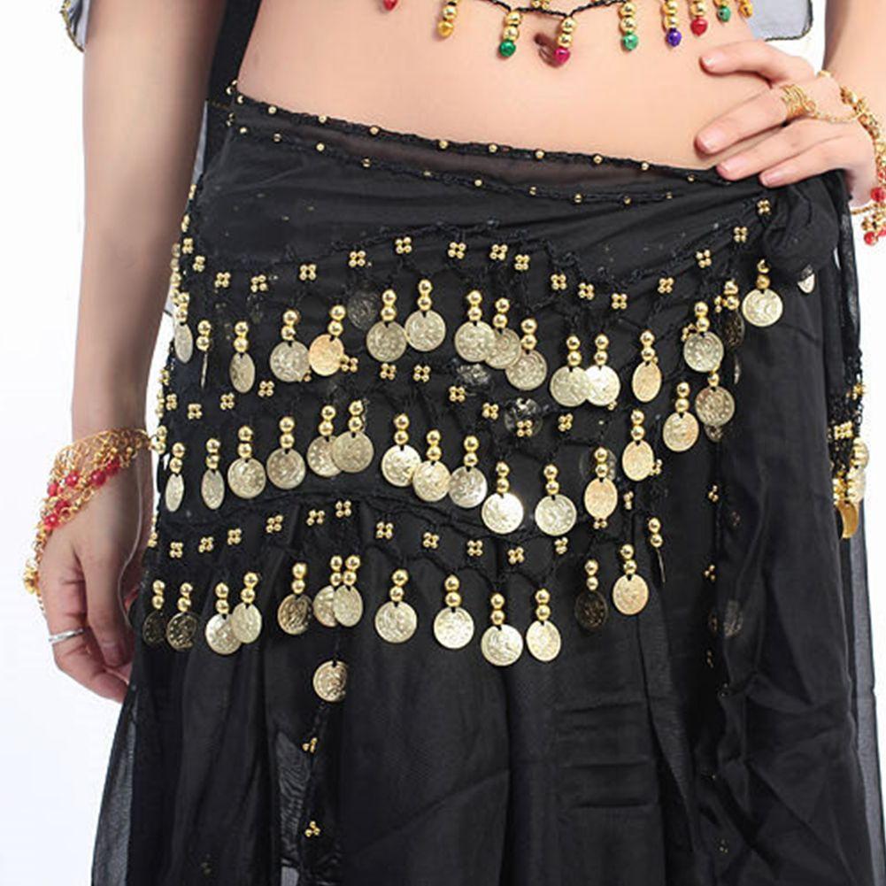 Wrap Fashion Chiffon Skirt New Wear Coin Hip Row 3 Belly Dance Scarf Belt