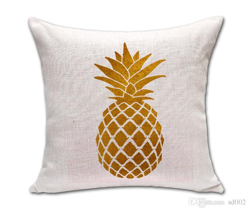 Ouro Pineapple pattern pintura Pillowcase Artístico Criatividade capa de almofada de algodão e linho Home Design colorido macio Fluffy Conven 8xtC1