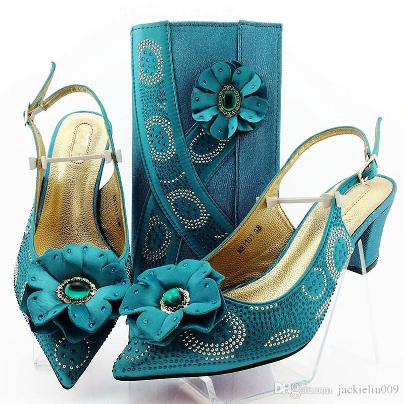 Most popular blue flower style women pumps with Big crystal decoration african dress shoes match handbag set MM1101,heel 7CM