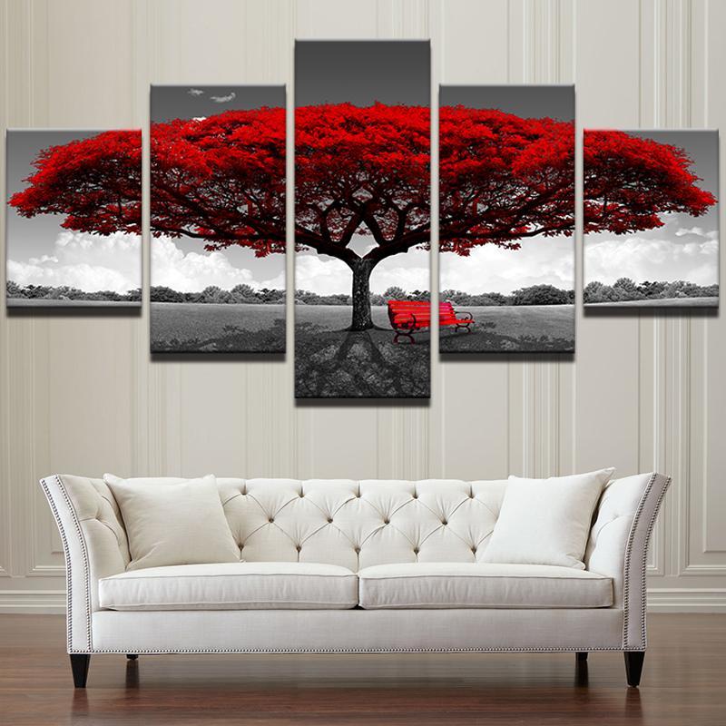 Modüler Tuval HD Baskılar Posterler Ev Dekorasyonu Wall Art Resimleri 5 Parça Kırmızı Ağacı Sanat Manzara Manzara Resimleri Ç ...