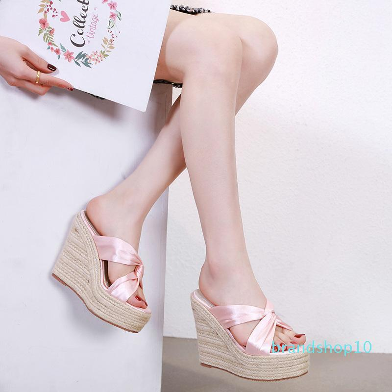 Cute2019 chanvre Année pente de corde avec des sandales femme haut talons plate-forme étanche Rose 34 Petit Code de femmes Chaussures
