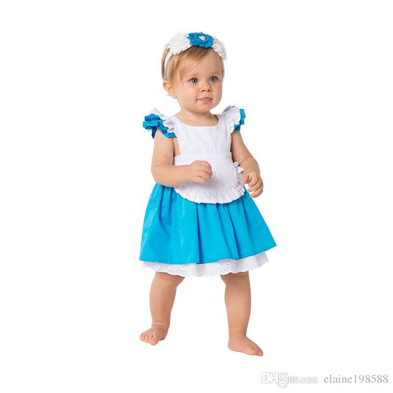어린이 여름 100 %면 공주 드레스 1-6T 아기 소녀 코스프레 스커트 앨리스 신데렐라 드레스 화이트 블루 활 스커트 + 머리띠 = 2PCS / 설정