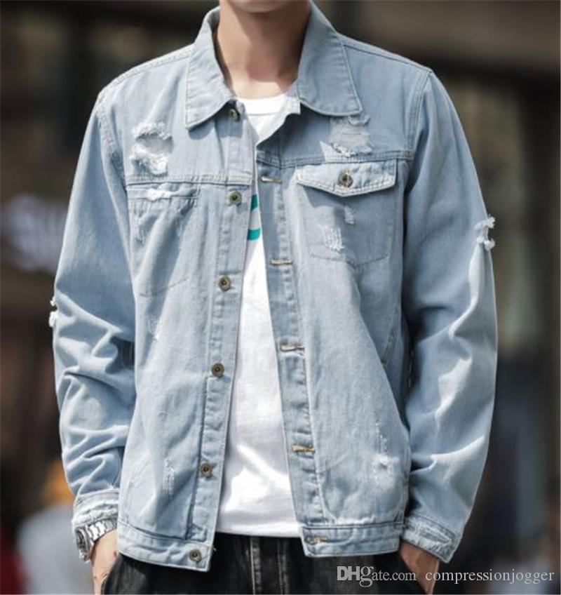 Loch Panelled Herren Designer Jean Jacken Mode Taschen Knopf Panelled Herren Jean-Jacken beiläufiger Mann Kleidung