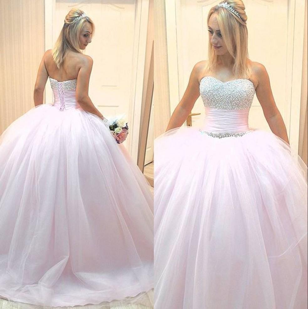 뜨거운 판매 매력적인 라이트 핑크인 웨딩 드레스의 연인 비즈 볼 가운 튤 바닥 길이 신부 드레스 레이스 백업 사용자 정의 만든