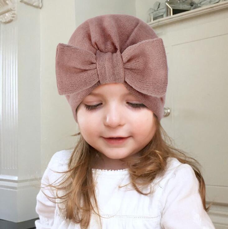 인사 아기 여자 소년 이동식 bowknot 모자 유아 부티크 인도 터번 가을 겨울 6 색상