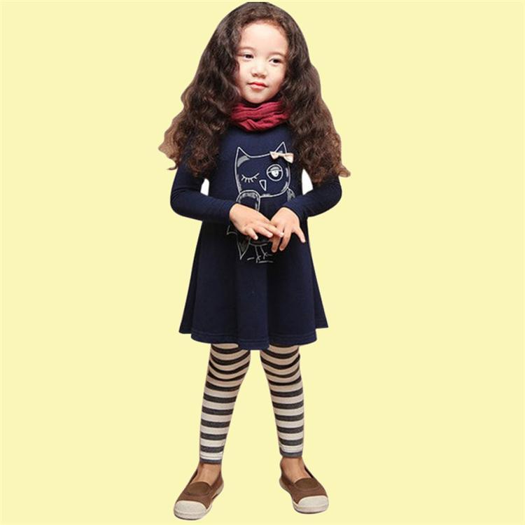 девушки OWL печататься платья 2 цвета Полного рукава моды мультфильма дети одежда Детского конструктор Одежда Девочка JY13