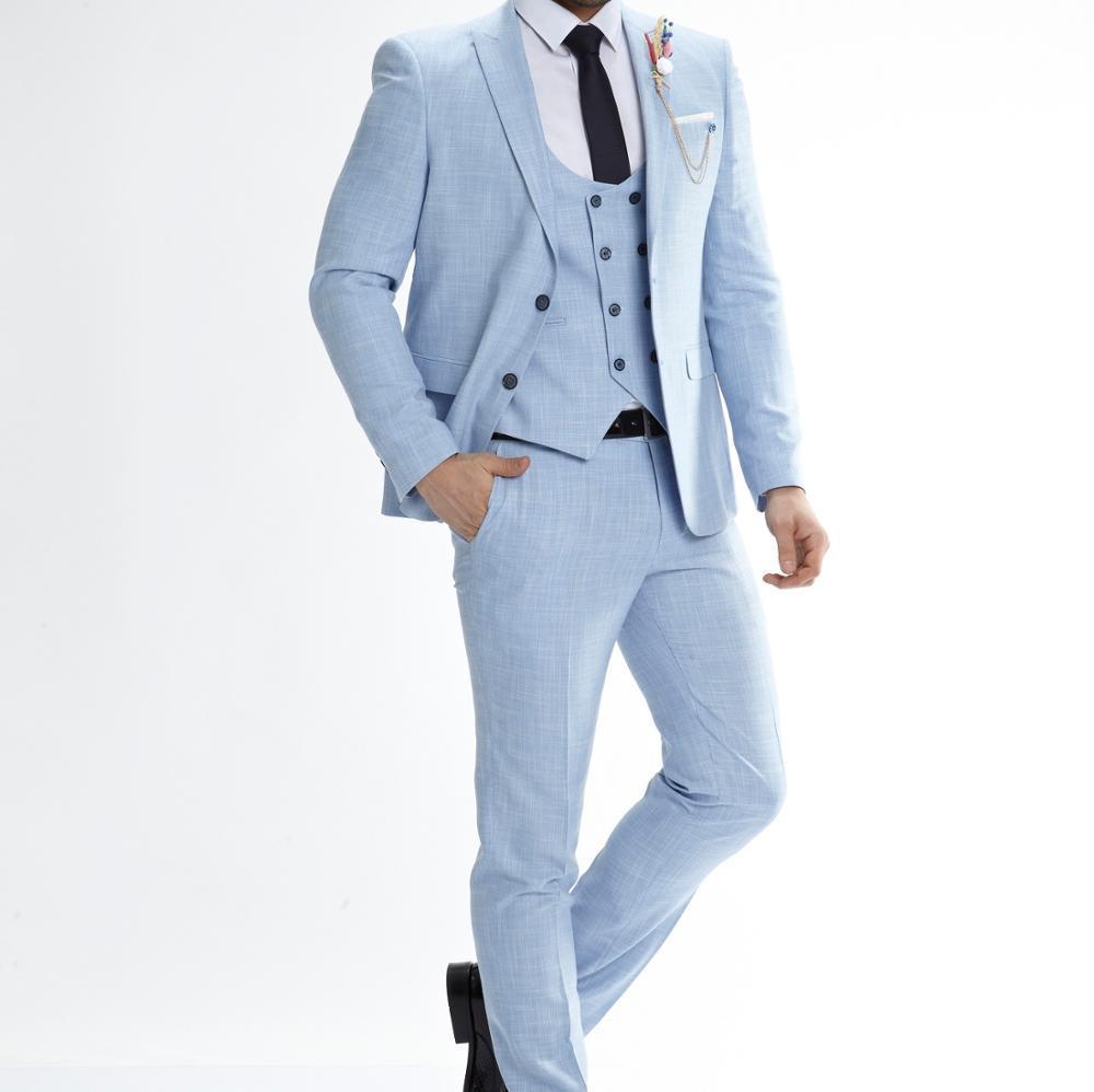 Classic Two Buttons Handsome Groomsmen Peak Lapel Groom Tuxedos Men Suits Wedding/Prom Best Man Blazer ( Jacket+Pants+Vest+Tie) W81