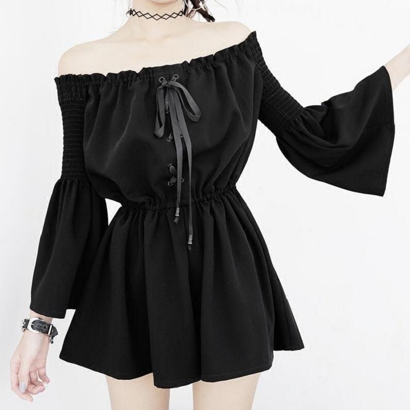 Yaz Seksi Backless Kapalı Omuz Siyah Tulum Kadınlar Elastik Bel Casual Gevşek Flare Kol playsuits Gotik Moda