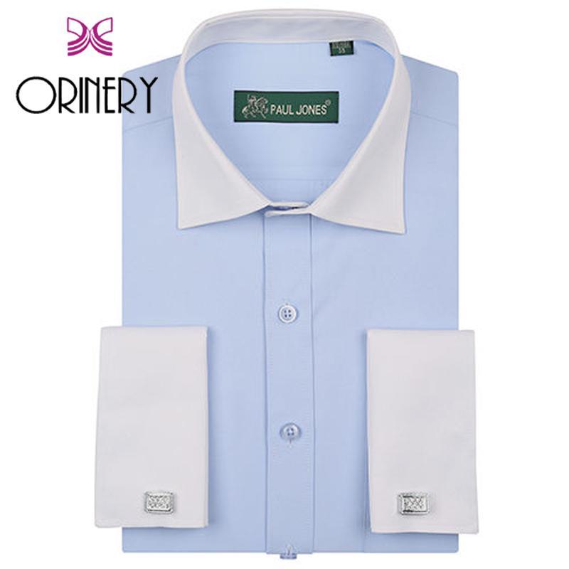 ORINERY Maglietta S-3XL maniche lunghe Mens di alta qualità francese di polsino con gemelli Fashion Dress Patchwork Abbigliamento Camicie Marca
