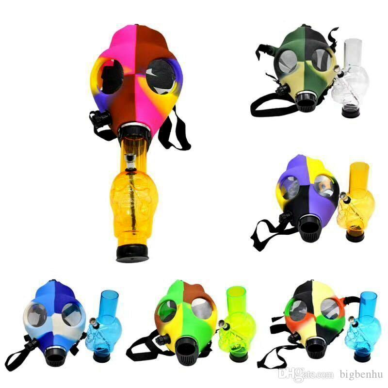 Maske Silikonschlauch Bong Kreative Maske Acryl-Pfeife Gasmaske Acrylbongs Rohre Drop shipping