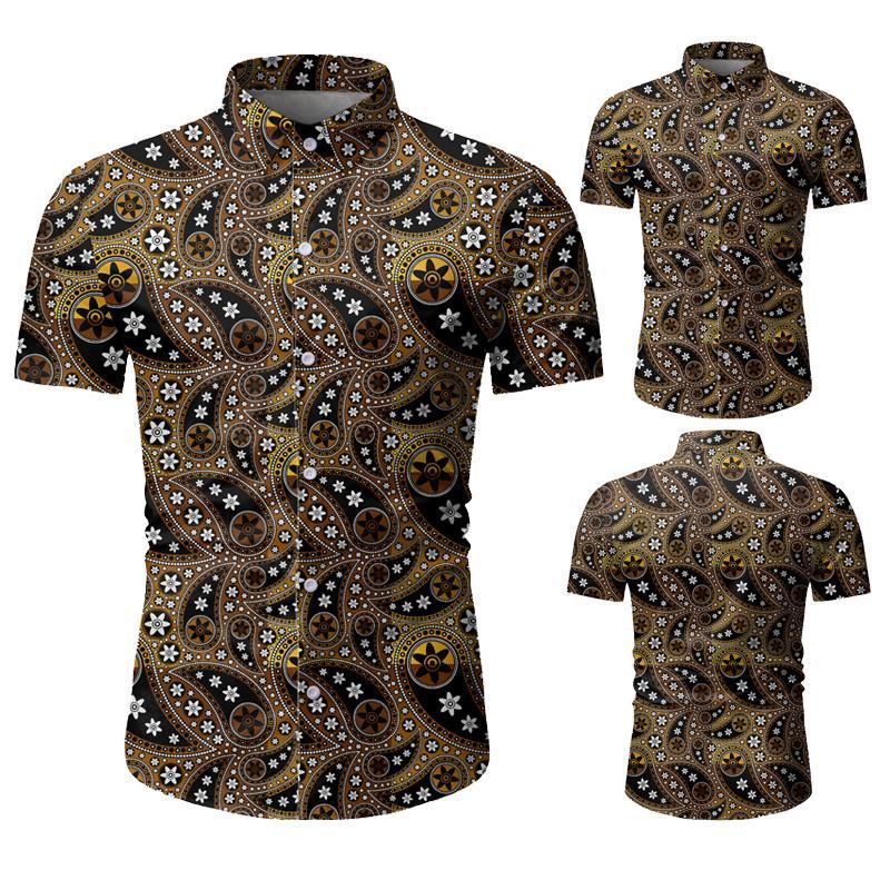 Atacado Designer Mens Floral Impresso Moda Casual camisas com botões de lapela Manga Curta shirt dos homens da praia do verão Shrits M-3XL