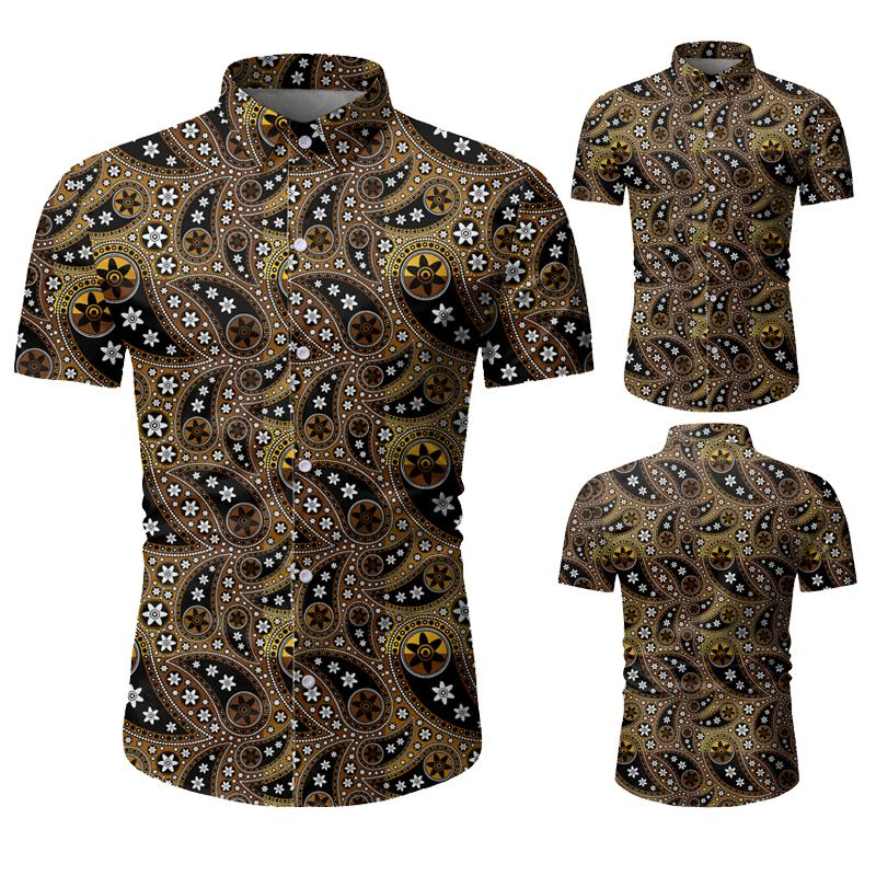 Wholesale Designer Mens Floral Printed Fashion Casual Shirts Button Down Lapel Short Sleeved Shirt Men Summer Beach Shrits M-3XL