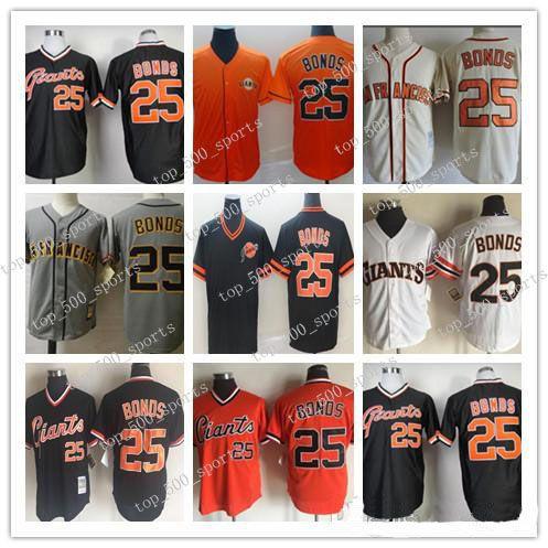 남성용 빈티지 25 Barry 본드 유니폼 Barry 본드 100 % 스티치 야구 유니폼 1989 Rether White Gray Orange Black