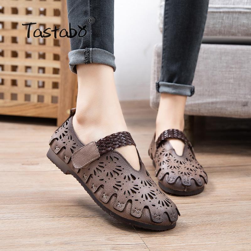 Tastabo 정품 가죽 수 제 여성 신발 캐주얼 신발 빈 일상 모래 화이트 S2521 아사쿠 치 소프트 솔 드 엄마