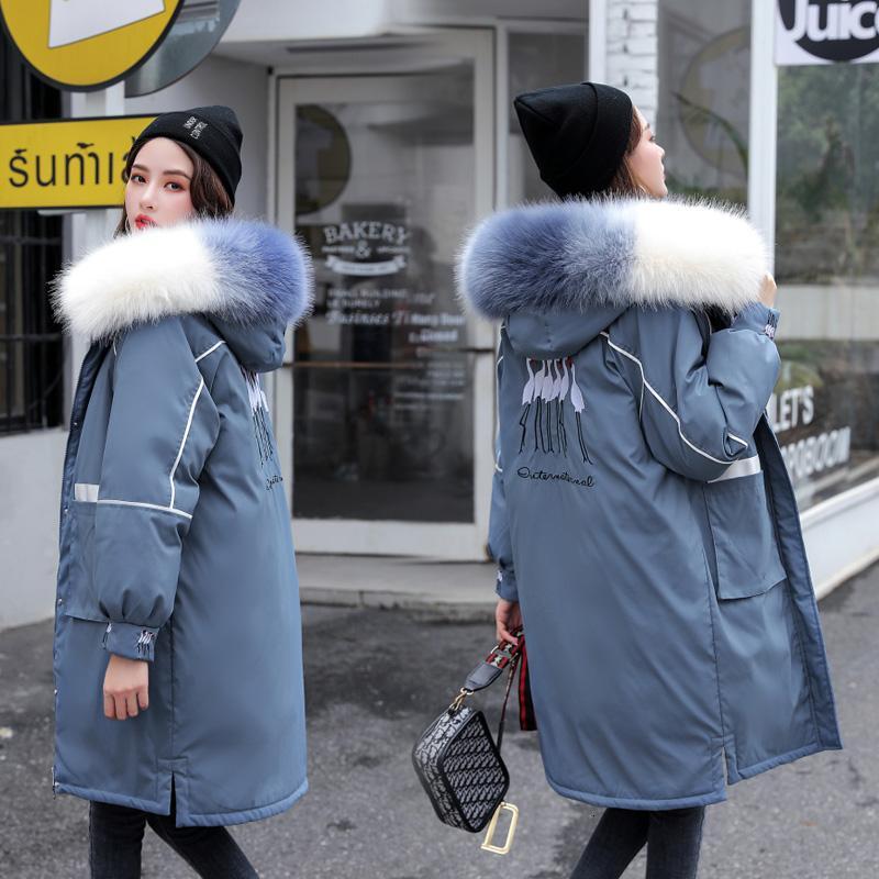 gate 2019 casaco de algodão nova jaqueta média das mulheres e de longa escola de bordado grande lã gola superar engrossado T191031