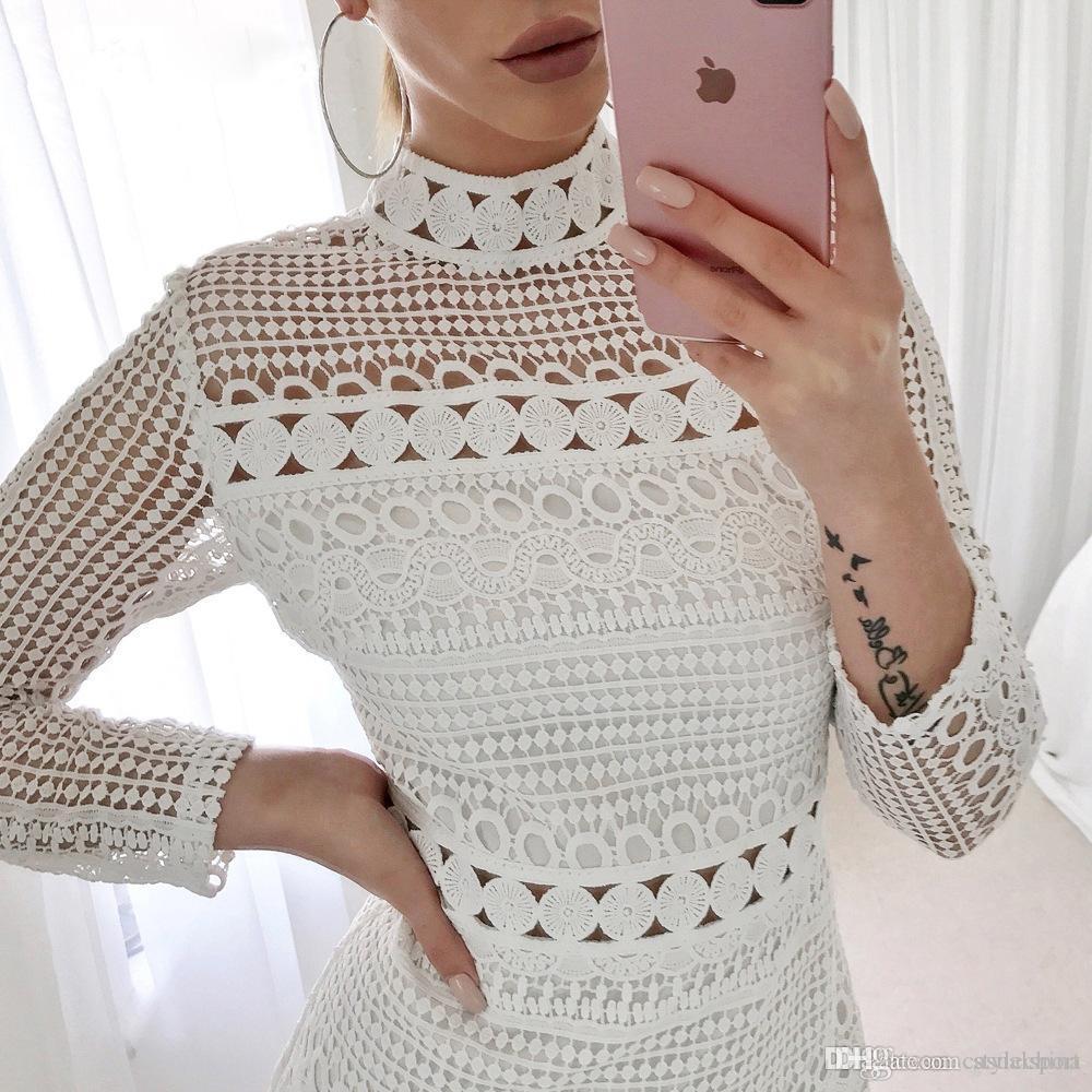 Sexy Pizzo Bianco Cuciture Scava Fuori I Vestiti Da Partito Delle Donne Eleganti Breve Mini Estate Abiti Casual Vestiti Per Le Donne 2020