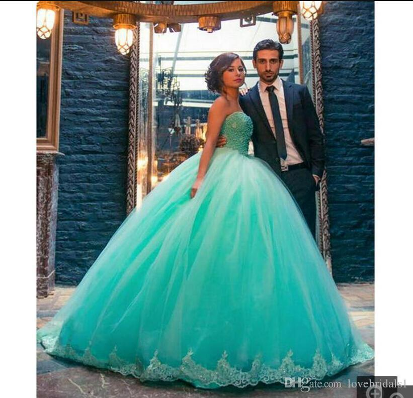 Luxury Mint Green Ball Gown Quinceanera Dresses With Pearl Beaded vestidos de 15 anos Sweetheart Sweet 16 Dresses Plus Size Prom Dresses Fo