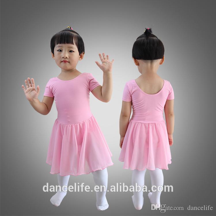 Child short sleeve ballet dress C2129 wholesale chiffon dance costumes ancewear discount supplier