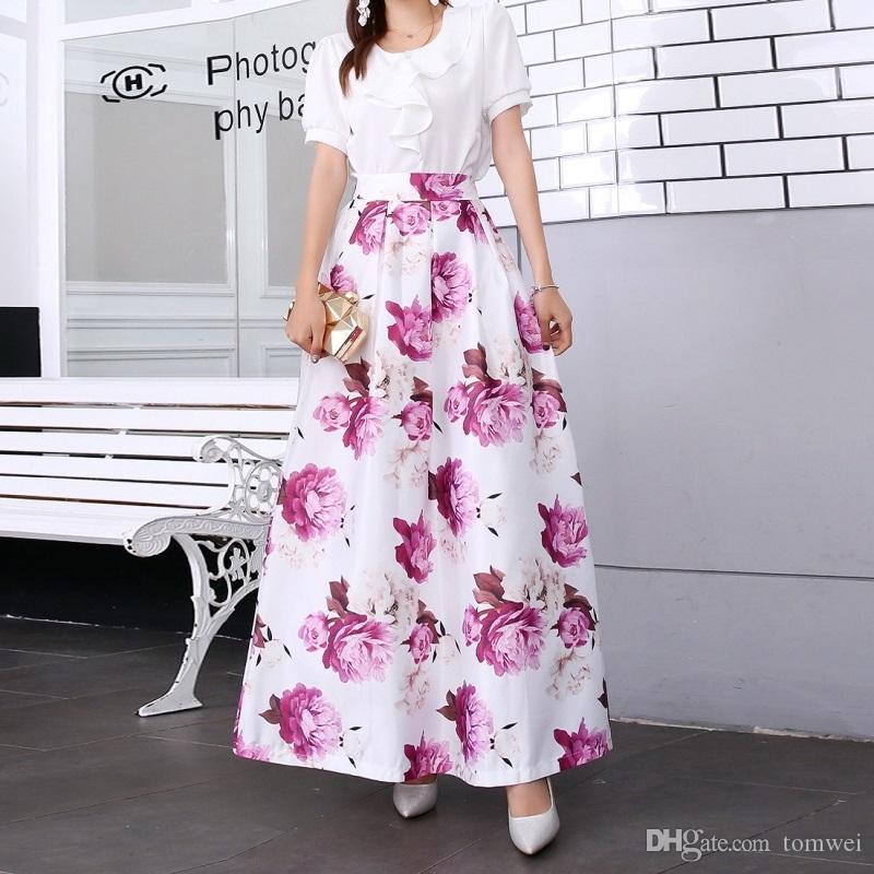 Womens Maxi Skirt Printed Skirt High Waist Swing Dress Flower Long Skirt Plus Size Clothing Office Holiday Wear New Arrival