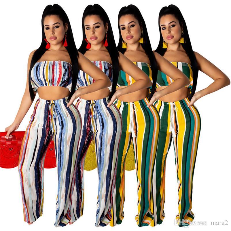 Les femmes 2 pièces pantalon ensemble été vêtements costume rayé poitrine wrap sans manches hors épaule récolte top leggings pantalon pleine longueur 711
