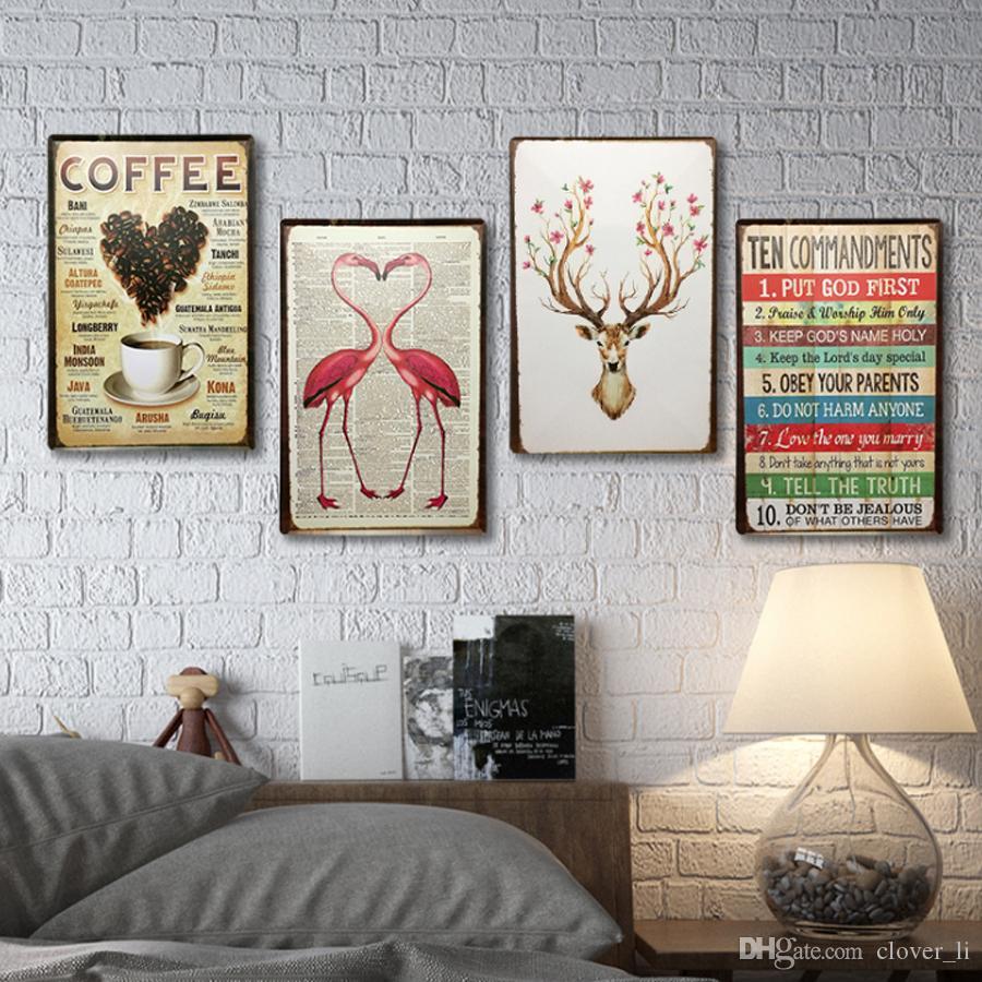 21 개 스타일 주석 징후 자동차 디저트 빈티지 벽 아트 레트로 TIN 기호 오래 된 벽 금속 회화 ART 바 펍 레스토랑 홈 장식
