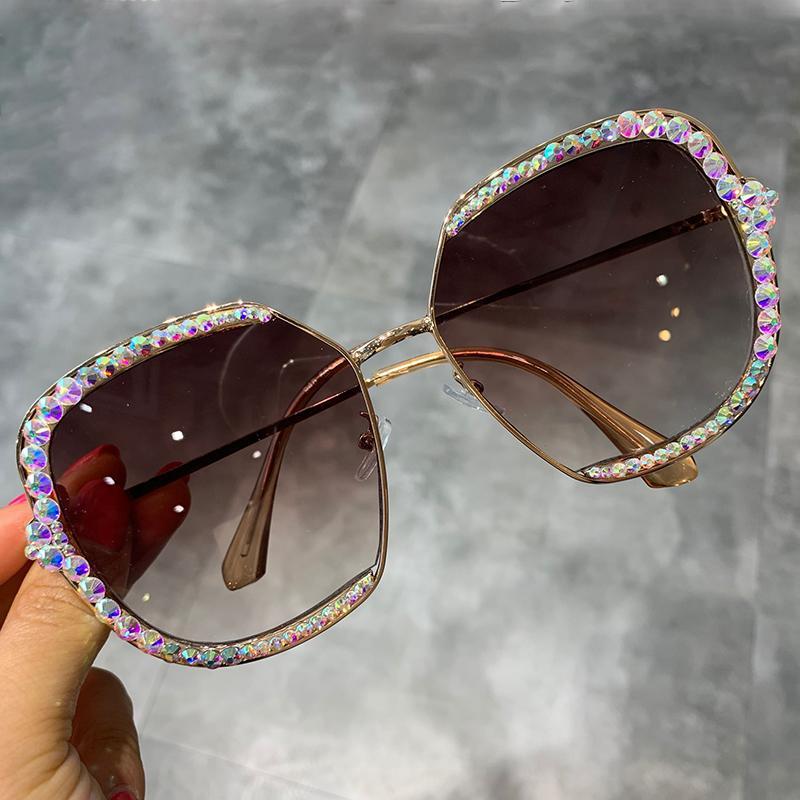 2019 선글라스 여성 럭셔리 라인 석 스퀘어 선글라스 클리어 렌즈 대형 남성 선글라스 빈티지 셰이드
